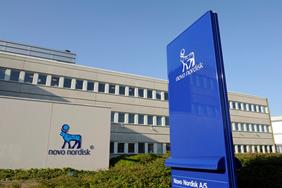 Novo Nordisk sign board in front of HQ